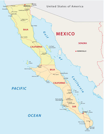 baja california road and administrative map Vectores