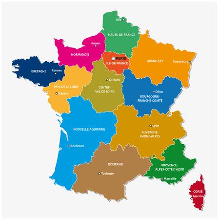 Administratieve kaart van de 13 regio's van Frankrijk sinds 2016