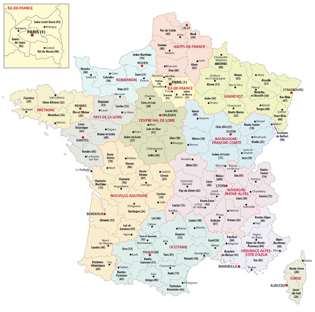 Administrative map of the 13 regions of france since 2016