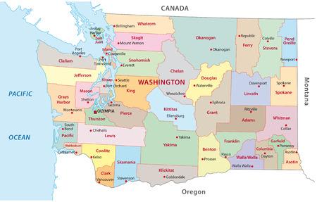 Washington carte administrative Banque d'images - 64575292