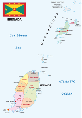 windward: grenada administrative map with flag Illustration