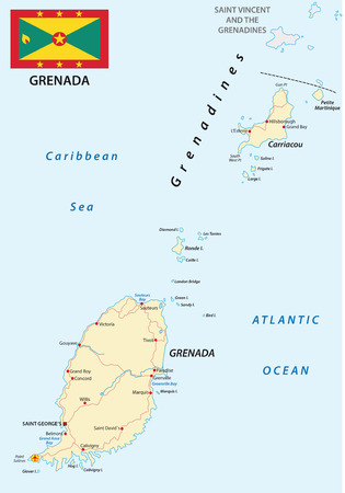 windward: Grenada road map with flag