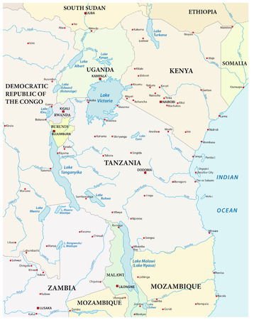 tanganyika: map of the great African lakes Illustration