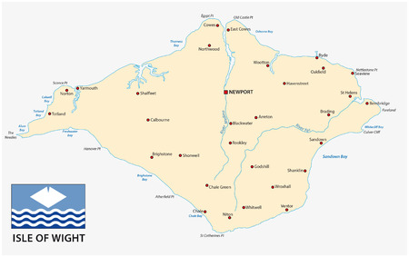 wight: isle of wight map with flag
