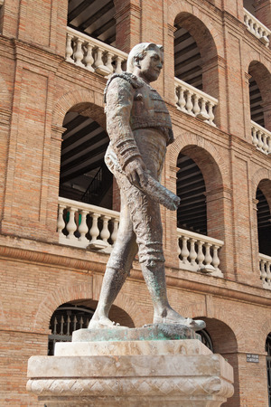Statue Toreador Manolo Montoliu, Plaza De Toros, Valencia, Spain Editorial