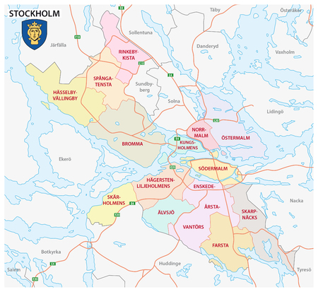 lake district: Administrative and political map of the Swedish capital Stockholm with coat of arms Illustration