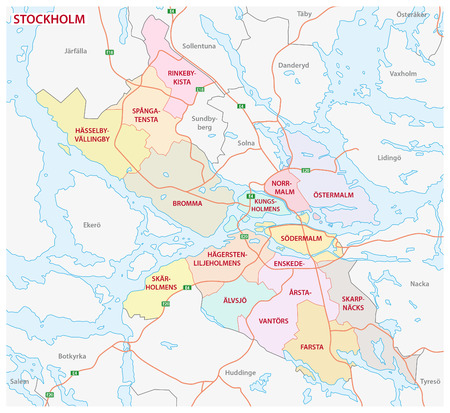 lake district: Administrative and political map of the Swedish capital Stockholm