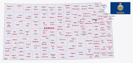 kansas administrative map with flag