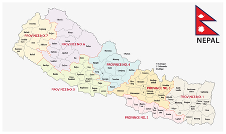 himalayas: nepal administrative and political (province) map with flag
