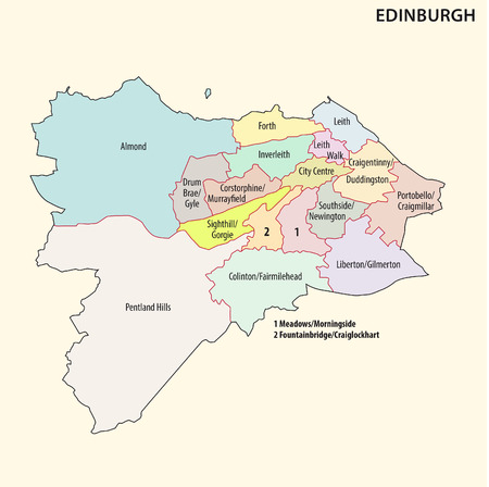 local government: administrative and political map of the Scottish capital Edinburgh