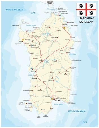 sardinia: Road map of the italian mediterranean sardinia Iseland with flag