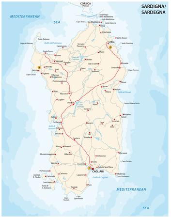 イタリア地中海サルデーニャ Iseland の道路地図  イラスト・ベクター素材