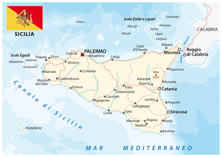 Road map of the italian mediterranean Iceland Sicily with flag Vetores