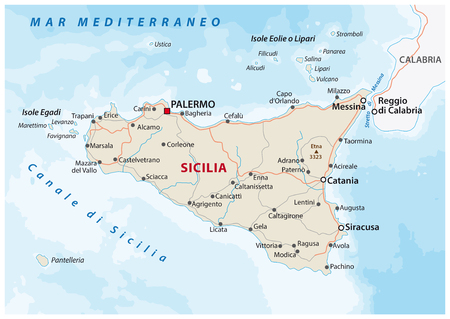 Road map of the italian mediterranean Iceland Sicily
