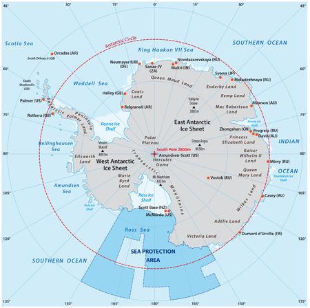 Carte de l'Antarctique avec la nouvelle zone de protection de la mer dans la mer de Ross