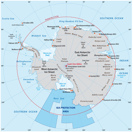 antarctic: Map of the Antarctic with the new sea protection area in the Ross Sea