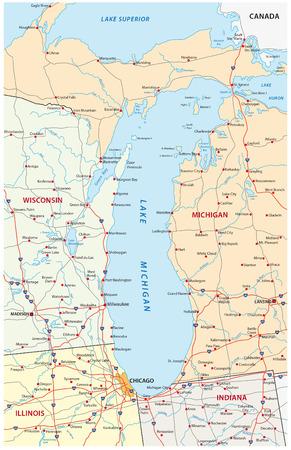 Map Of Great Lakes Royalty Free Cliparts Vectors And Stock - Lake michigan map
