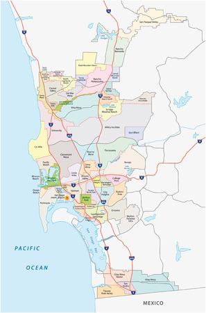 サンディエゴ、管理、道路および政治地図