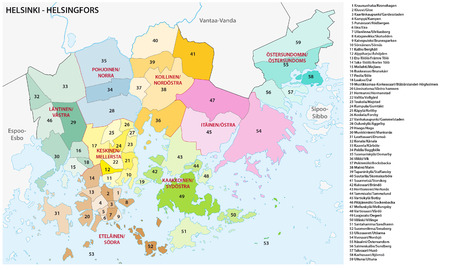 finnish: Neighborhood and district map of the Finnish capital Helsinki Illustration