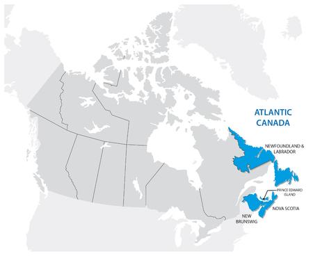 Survey map of the four Canadian Atlantic States, Atlantic canada 矢量图像