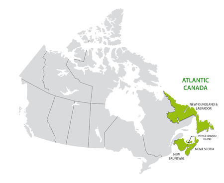 Survey map of the four Canadian Atlantic States, Atlantic canada Vettoriali