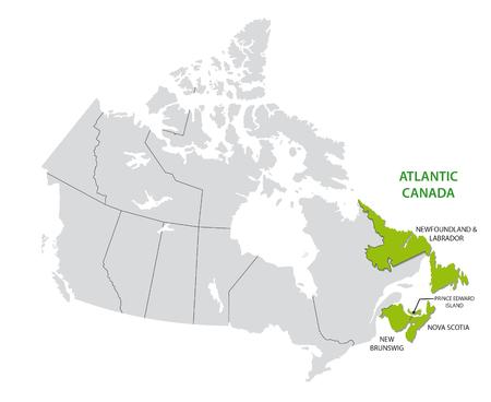 Survey map of the four Canadian Atlantic States, Atlantic canada Illustration