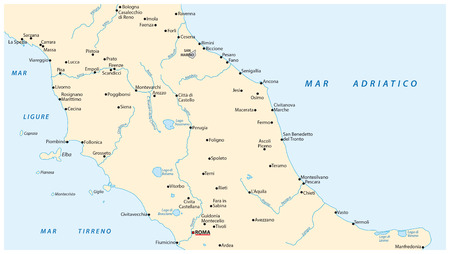 lazio: Simple outline vector map of central italy