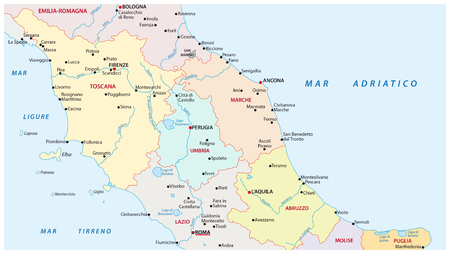 lazio: Administrative and political map of the regions of central Italy Illustration
