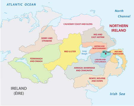 northern ireland administrative and political map