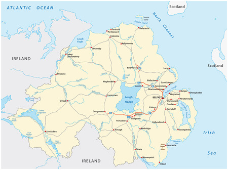 Detailed road map of the British province of Northern Ireland
