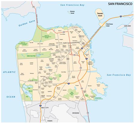 サンフランシスコの道路や近所のベクトル マップ