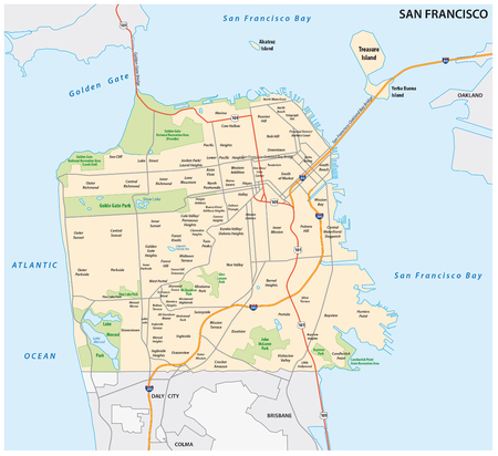 San Francisco road and neighborhood vector map Фото со стока - 67648016