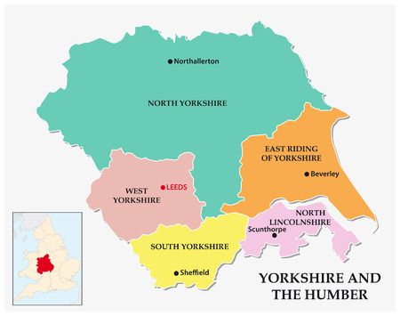 yorkshire and humber: yorkshire and the humber administrative and political map