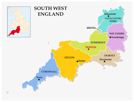 south west england: South West England administrative and political map