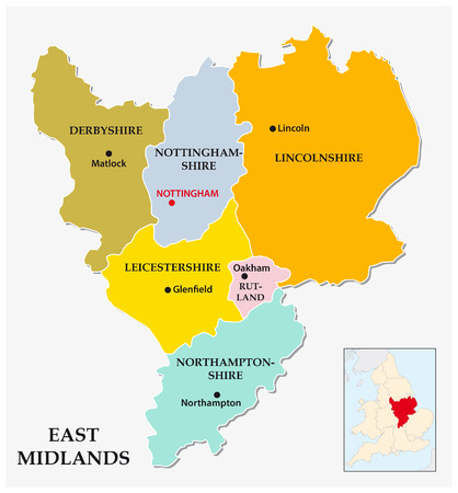 midlands: east midlands administrative and political map