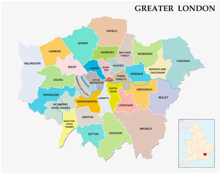 greater: greater london administrative and political map