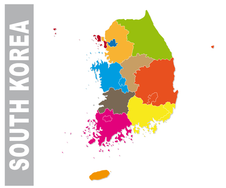 Colorful South Korea administrative and political map Illustration
