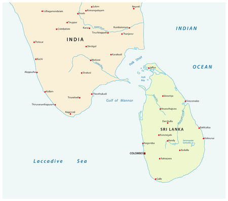 colombo: Simple survey map of sri lanca and south india