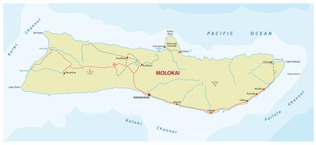 molokai road map Illustration