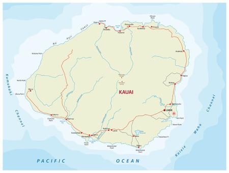kauai road map Vettoriali