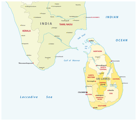 colombo: sri lanca and southindia administrative map Illustration