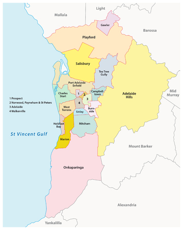 adelaide: Greater Adelaide administrative and political map, Australia