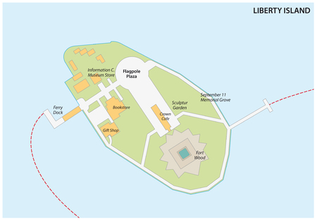 Vector map of liberty Iceland, New York City 向量圖像
