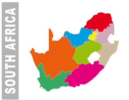 Colorido mapa administrativo y político del vector de Sudáfrica