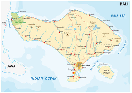 bali province: Road map of the indonesian Iseland of bali