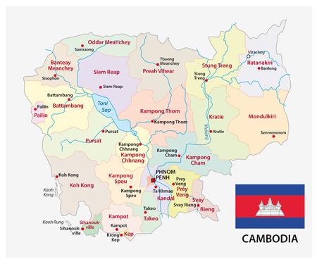 Cambodja administratieve en politieke kaart met vlag