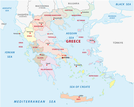 Greece administrative and political map Stock Illustratie