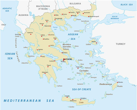 aegean: Hellenic Republic, greece abstract vector map