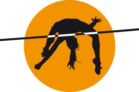 alto: Macho atleta salto alto silueta negro ilustración vectorial