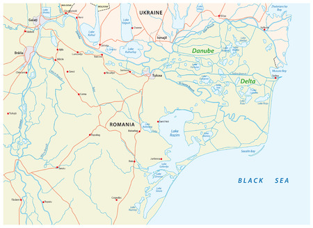 Map of the Danube delta in romania and ukraine